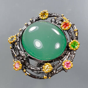 Jewelry Handmade Chrysoprase Ring Silver 925 Sterling  Size 8 /R176730