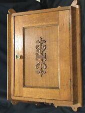 Antique Hanging Oak Corner Carved Cabinet