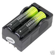 2PCS 3.7V Rechargeable 5800mAh Battery 18650 Li-ion Battery & Dual Smart Charger