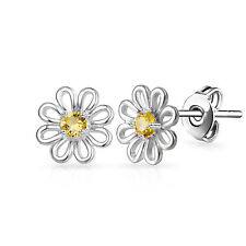 Silver Daisy Stud Earrings With Crystals From Swarovski