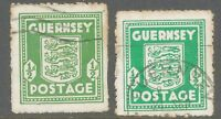 2304 GUERNSEY 1943 1/2d Arms of Guernsey FU in shades olive-+ emerald VARIETY