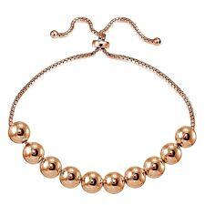 Rose Gold Flashed Sterling Silver 8mm Bead Adjustable Bracelet