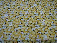 2.2 Yards Quilt Cotton Fabric- Henry Glass Apple Blossom Yellow Apples Allover