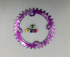 Purple Single Chainring BCD104 Narrow Wide Round/Oval ChainRings 32/34/36T+Bolts