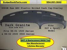 99-02 Dodge Ram Dash Cap Overlay Hard Plastic Cover / Dark Granite - Med Grey
