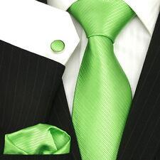 GB Hombres Corbata Llano Solid verde lima Sarga Boda De Lujo SEDA Juego