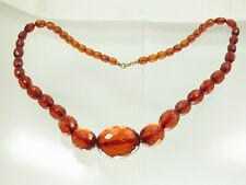 Antike Cherry Amber Bakelit Kette Oliven Königsberger Schliff 67 cm 58 Gr. 1930