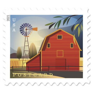 USPS New Barn Postcard Stamp Coil of 100