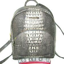 Brahmin Charcoal Sparrow Croco Leather Mini Dartmouth Backpack Bag NWT $335