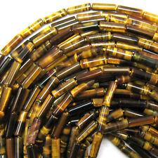 13mm natural tiger eye tube beads 15.5