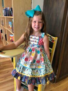 Matilda Jane Girls Bike Path Knot Dress Sz 2 New in Bag Removable Apron