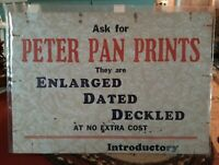 Vintage Cardboard Advertising PETER PAN PRINTS Sign for Store?