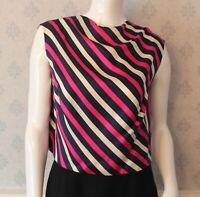 Vintage 1960s Silk Ivory, Navy Blue and Bright Pink Striped Sleeveless Top
