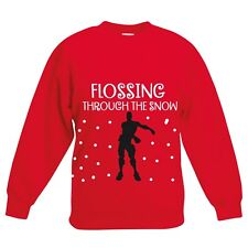 Boys CHRISTMAS JUMPER FLOSSING THROUGH THE SNOW Sweatshirt Top Gift GIRLs KIDS