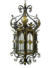 Antique Gothic Chandelier Pendant Lantern 1 light  Wrought Iron Leaded Glass WOW