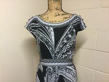 New York & Company Black & White,Gray Scoop Neck Sheath Dress Size L