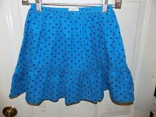 Lands' End Kids Blue Polka Dot Ruffle Corduroy Pull On Skirt Size S (7/8) Girl's