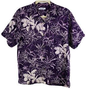 Tommy Bahama Hawaiian Purple Tropical Leaves Aloha Camp Shirt 100% Silk Mens L