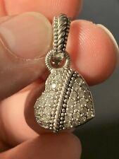 Judith Ripka Sterling Silver Round CZ Studded Heart Enhancer Pendant