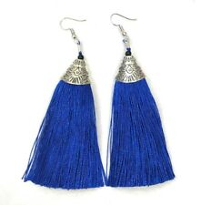 Long Funky Tassel Chandelier Silver Dangle Party Earrings - Pierced or Clip On