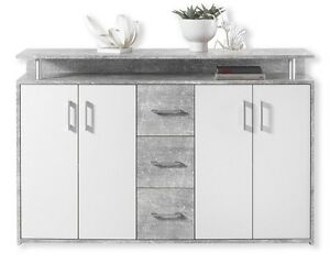 Kommode Sideboard Beistellkommode Drift Beton Grau Nb. / Weiß ca. 139 cm
