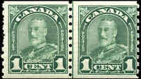 1931 Mint NH Canada LINE PAIR 1c F Scott #179i KG Arch/Leaf Coil Stamps