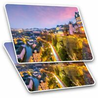 2 x Rectangle Stickers 7.5cm  - Old Town Luxembourg City  #45925