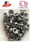 Pack 50 M6-1.0 Metric Stainless Steel Hex Flange Nuts,DIN 6923 A2-70 /18-8 Grade
