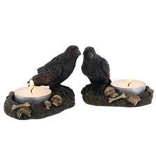 NEW SET OF 2 RAVEN BIRD TEA LIGHT CANDLE HOLDERS HOLDER RO_37335B