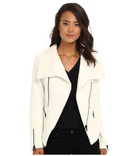 BARDOT ASPEN FULL SLANT ZIP HOODLESS JACKET WINTER SWEATER WHITE SZ 12 NEW! $180