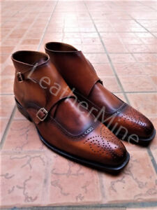 Men's Patina Double Monk Boots, Leather Handmade Brown Patina Dress Boots