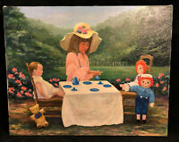 Original Oil Painting Tea Party Raggedy Ann Dolls Creepy Signed Ruth Juve VTG