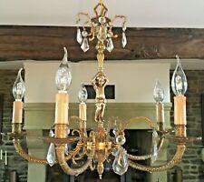 CHERUB CRYSTAL CHANDELIER Bronze Brass ceiling light PUTTO 5 ARM VINTAGE FRENCH