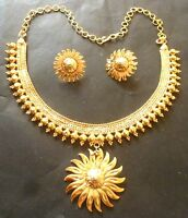 22K Gold Plated Indian Surya Flower Nice Wedding party Necklace 8'' earrings Set
