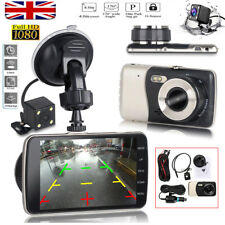 4'' 1080P Dual Lens Car DVR Dash Cam Video Recorder Front and Rear Camera LCD UK