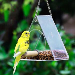 Bird Feeder Triangle Hanging Waterproof Feeder Geometry Window Glass Bird Feeder