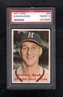 1957 TOPPS #90 WARREN SPAHN HOF MILWAUKEE BRAVES PSA 8 NM/MT++ CENTERED!