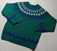 Cambridge Spirit Vintage Shetland Wool Sweater Green Blue White 80s Large L
