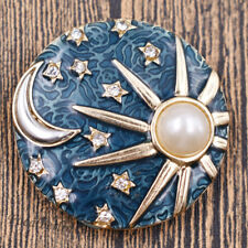 Sonne Mond Blau Brosche Anstecknadel Enamel Emaille Modeschmuck Elegant Damen