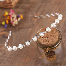 New Bridal Rhinestone Crystal Pearls Wedding Tiara Comb Headband Hair Band