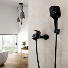 Black Wall Mount Bathroom Tub Mixer Faucet Taps + Hand Sprayer Shower Faucet