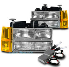 94-98 GMC C/K 1500 SUBURBAN HEADLIGHT LAMP W/BUMPER+CORNER+50W 6K HID KIT CHROME