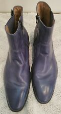 Fratelli Select Mens Blue Leather Boots Shoes Zip Size 13 Vero Cuoio Sole