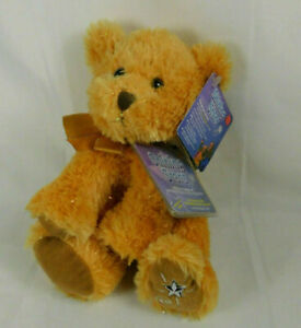 """Russ Shining Star Sparkly Tan Honey Bear Plush Stuffed Toy NEW with Tags 10"""""""