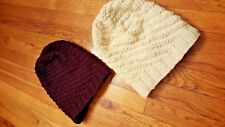 Set of 2 Handmade 100% Wool NEW Hats Beanies w/ Fleece Inner Lining Maroon Cream