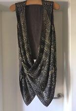 Kaufmanfranco Silk Sequinned Waistcoat Gilet Asymmetric Top, STUNNING ON. Sz 44