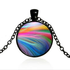 Vintage Rainbow Smoke Black Dome glass Photo Art Chain Pendant Necklace