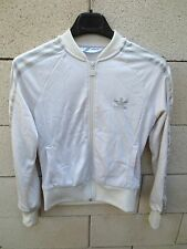 Veste ADIDAS rétro vintage femme girl blanc argent 38 tracktop jacket brillant
