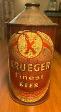 New listing 1945 Krueger Finest Beer Quart Cone Top Beer Can Newark New Jersey Brewery old