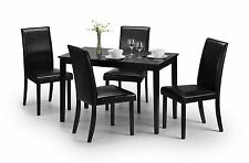 Julian Bowen Hudson Wood Black Dining Table With 4 Faux Leather Chairs
